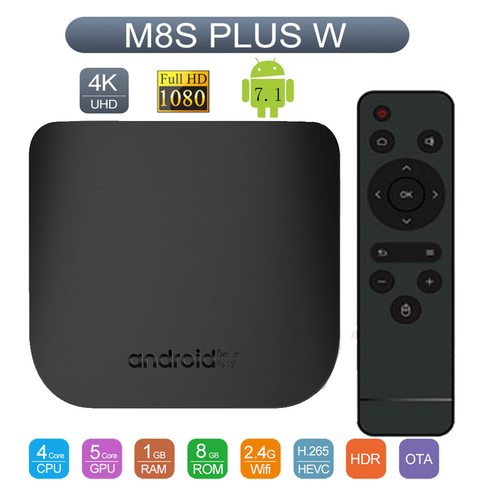 Mecool M8S Plus W Android 7.1 Smart TV Box Amlogic S905W Quad core 1/2GB 8/16GB Mini TV BOX WiFi 4K Set Top Box