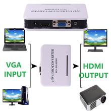 Cewaal VGA Audio to HDMI HD Video Converter Adapter US Plug For PC Laptop DVD HDTV Professional Converters Adaptor Portable Gift