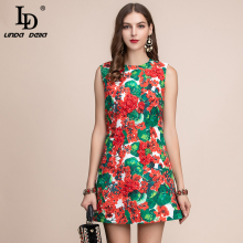LD LINDA DELLA Fashion Runway Summer Dress Women's Sleeveless Gorgeous Flower Print Appliques Vintage Elegant Mini Short Dress sleeveless flower print vintage dress