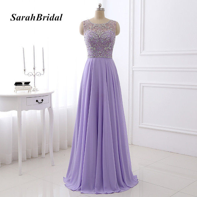 Real Pictures Glitter Beaded Crystal Bodice Lilac Long Evening Dresses  Chiffon Sleeveless Pageant Party Gowns Gala Dress LX349 aa99460dcd8c