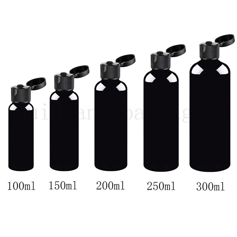 30pc 100ml 150ml 200ml 250ml 300ml Empty Black Refillable Cosmetic Bottle With Black Flip Top Cap Plastic Container Bottle