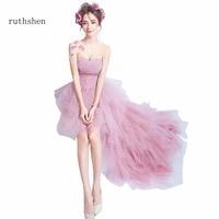ruthshen Real Photos In Stock Pink Strapless Sweetheart Neck Evening Dresses New Luxury Ruffles Evening Dress Sleeveless 2018