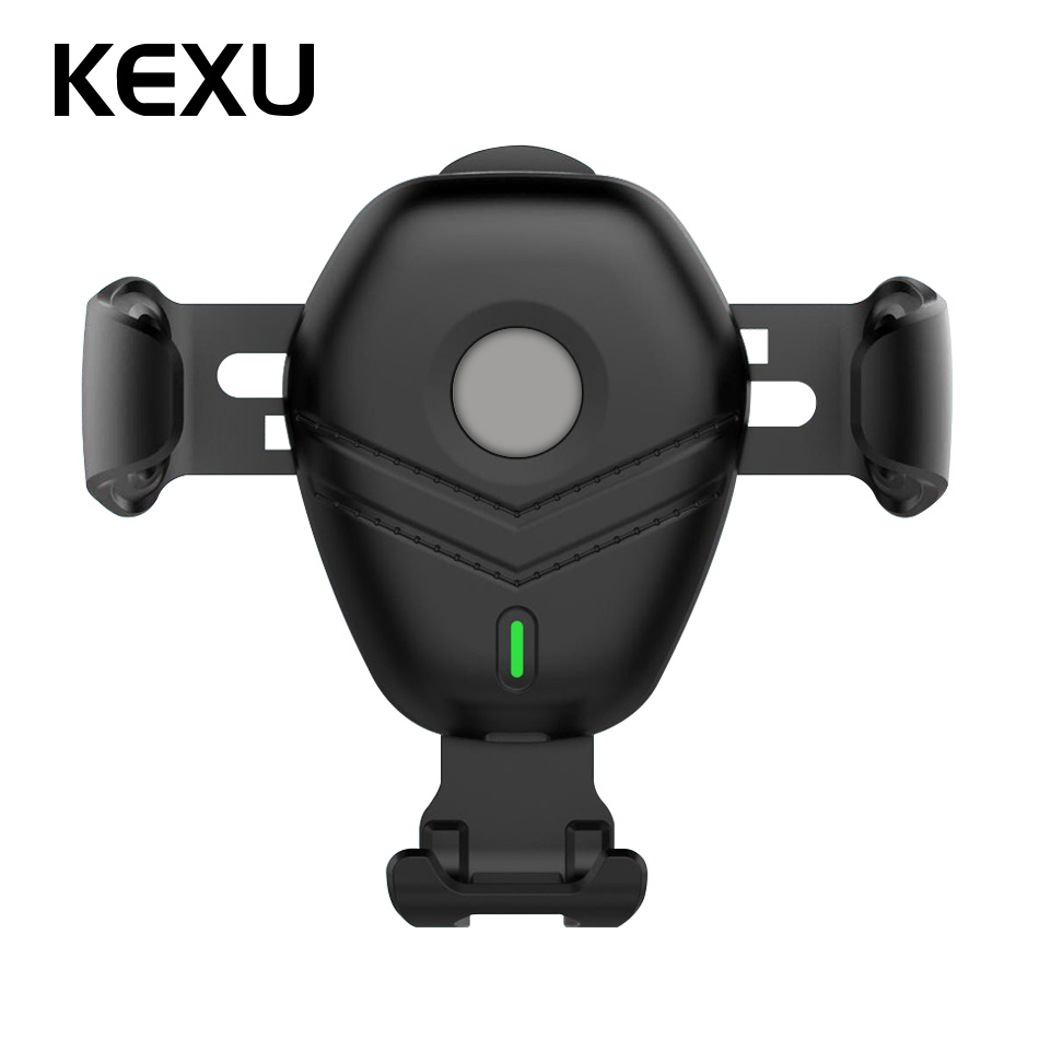 KEXU Car Mount Qi Wireless Charger for iPhone X 8 Plus Fast Wireless Charging Pad Car