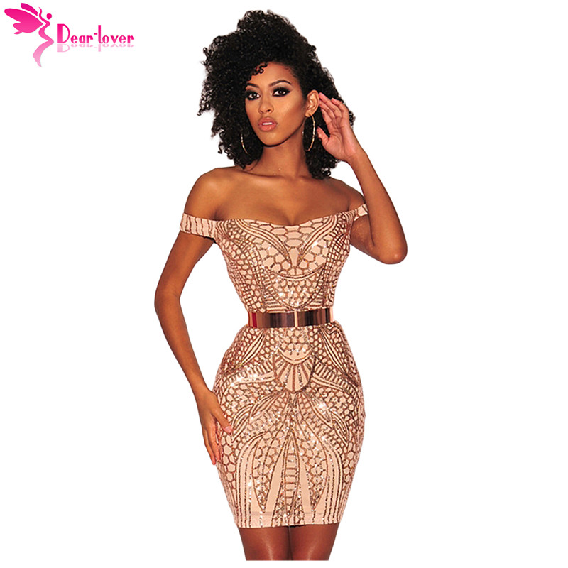 Detail Feedback Questions about Dear Lover Sexy Party Dresses Summer Gold  Sequined Nude Illusion Short Sleeve Off Shoulder Mini Dress Vestidos de  Festa ... c36bc926dadd