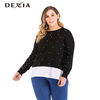 DEXIA Casual Striped Sweatshirt Women Plus Size 3XL 4XL 5XL Full Sleeve Knitted Pullover Female Elegant Beading Hoodies 9011