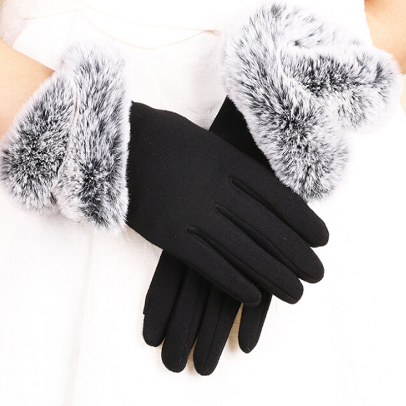 Fashion Women Touching Screen Gloves Winter Warm Lady Gloves Driving Soft Fake Fur Lining Gloves Mittens Cashmere