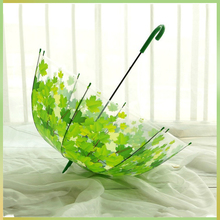 Woman Transparent Thicken PVC Mushroom Green Leaves Rain Clear Leaf Bubble Umbrella Child Long Handle Umbrellas Parasol