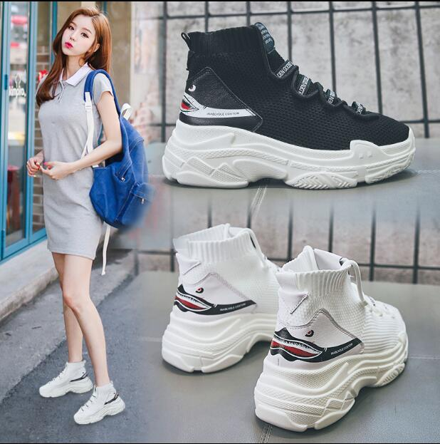 High Quality Walking Shoes Ins the Hottest Socks Shoes Female 2018 New Thick Bottom Hip-Hop Sports High-Top Sneakers WK51 high quality walking shoes thick crust sneakers female ins the hottest shoes 2018 new small white women s sport shoes wk46