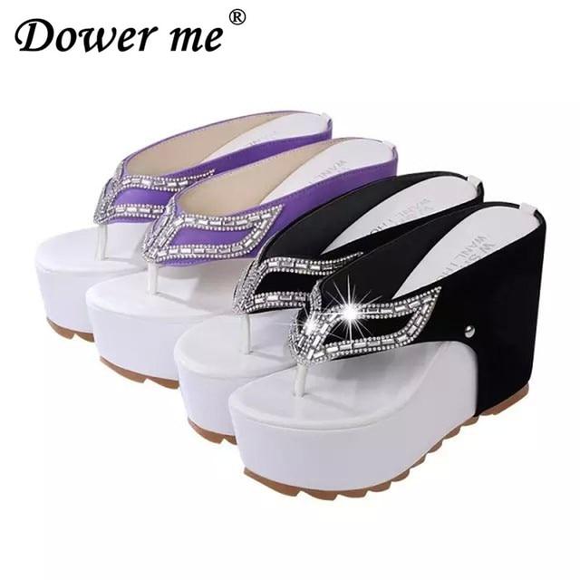 d117f1a5edd52 Summer Brand Woman thong wedge Sandals Female Thick Bottom Platform Flip  Flops Rhinestone Wedge Heel Shoes Patchwork High heels