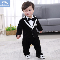 Newborn baby suit rompers and coat 2 pcs clothes sets Tuxedo cotton baby gentleman long sleeve 1 2 year birthday dress