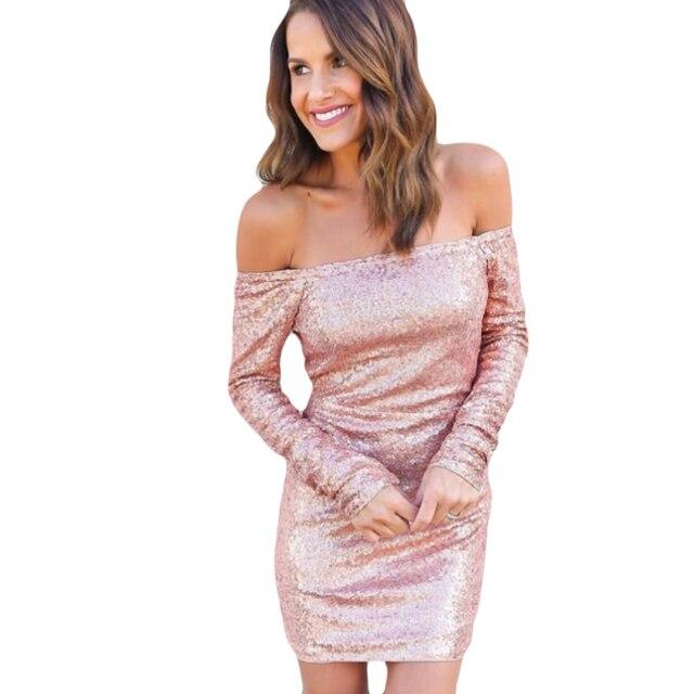 Women\'s 2017 Sexy Off Shoulder sequin dress Christmas party dress ...