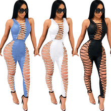 Sexy Slim Women Lace-up Jumpsuit Spaghetti Strap Club Playsuit Rompers Womens Party Bodycon Overalls