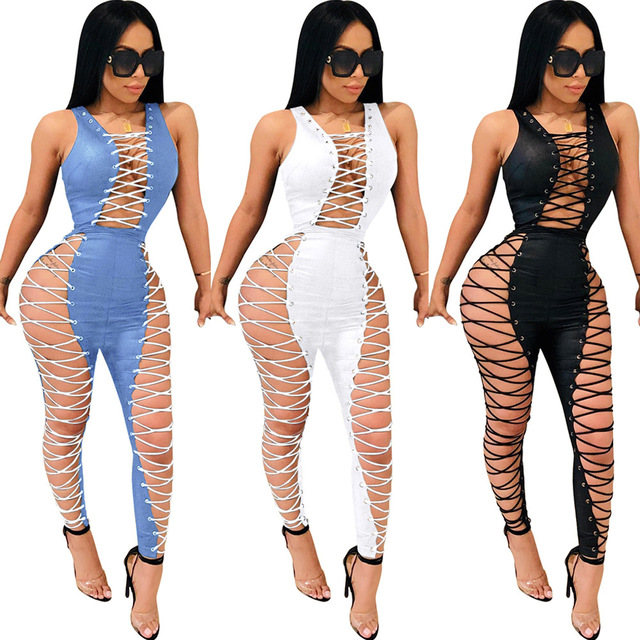 Sexy Slim Women Lace-up Jumpsuit Spaghetti Strap Club Playsuit Rompers Womens Jumpsuit Party Bodycon Overalls