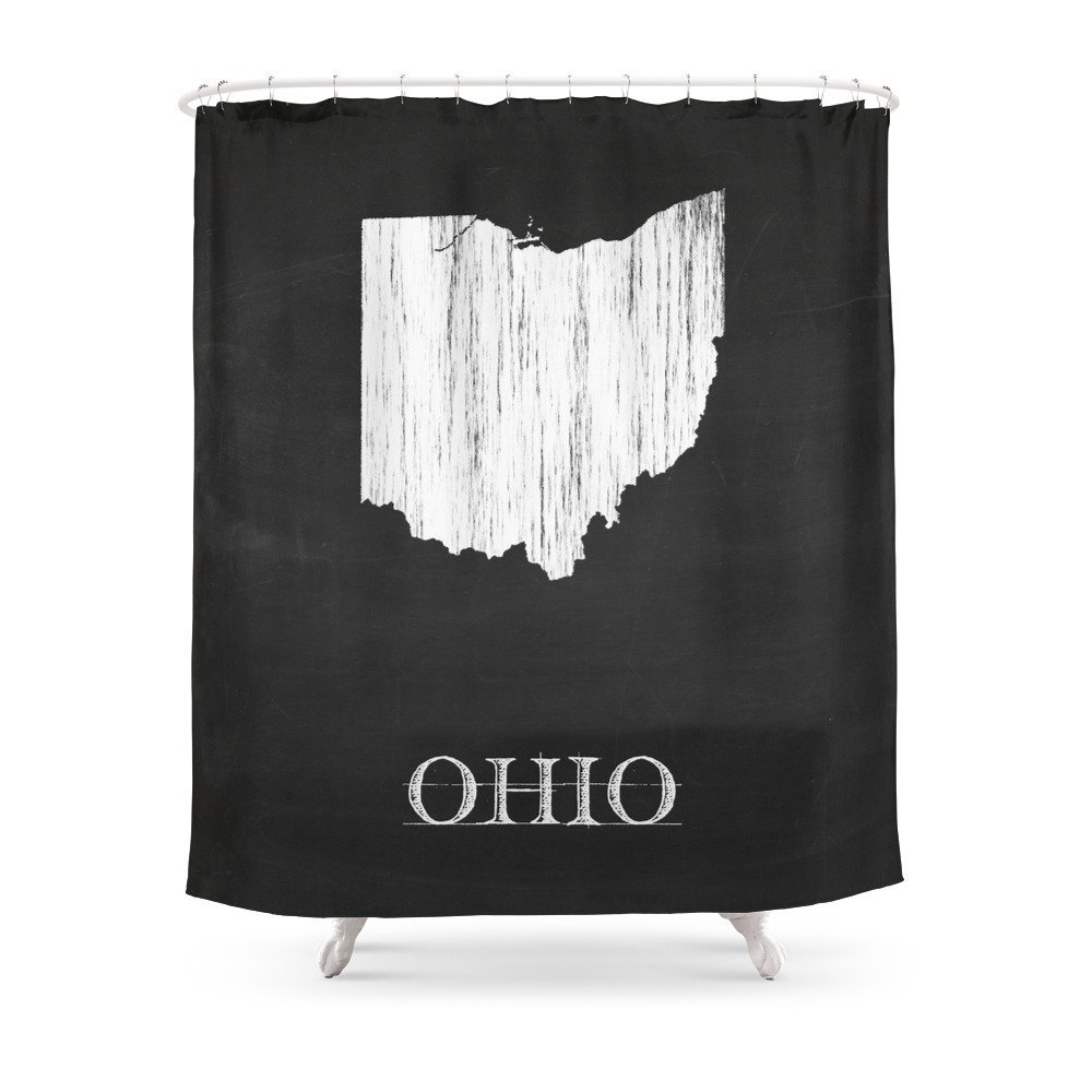 Ohio State Map Chalk Drawing Shower Curtain Set Waterproof Fabric Bath Curtain For Bathroom With Non-slip Floor Mat