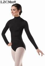 LZCMsoft kadınlar uzun kollu yüksek boyun mayoları beyaz bale dans mayoları jimnastik Spandex giyim balerin kostümleri