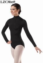 LZCMsoft léotides à manches longues à col haut pour femmes, Costumes de ballerine, en Spandex, pour danser le Ballet