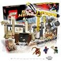 411 шт. 07021 Капитан Америка Бела Носорога и Sandman Злодей Marvel Team-Up DIY Строительных Блоков, которые Поддерживаются с Lego
