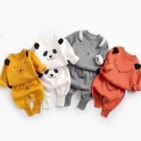 Костюм для малышей осенне-зимняя Милая одежда с рисунком для маленьких мальчиков, пуловер, Толстовка Топ + штаны, комплект одежды для малень...