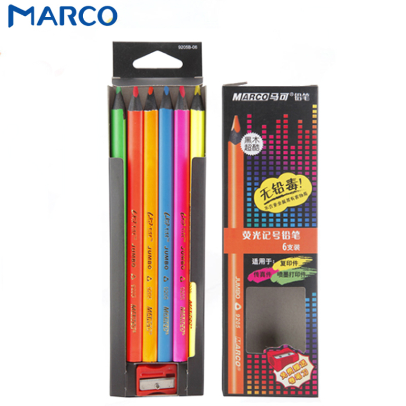Lápices de colores fluorescentes para dibujar, lápices triangulares para colorear cartas de papel negras, lapicero de póster, papelería escolar
