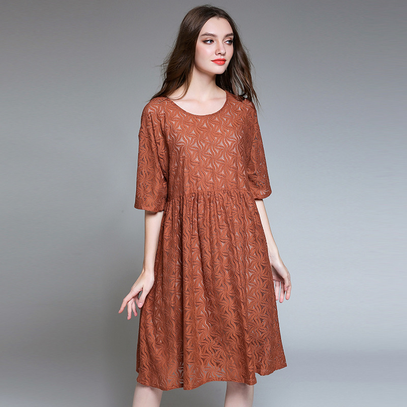 Enlarge size xl 4xl European Suit dress 2017 Summer Wear New Pattern Lace Dress Enlarge Code In Sleeve Twinset