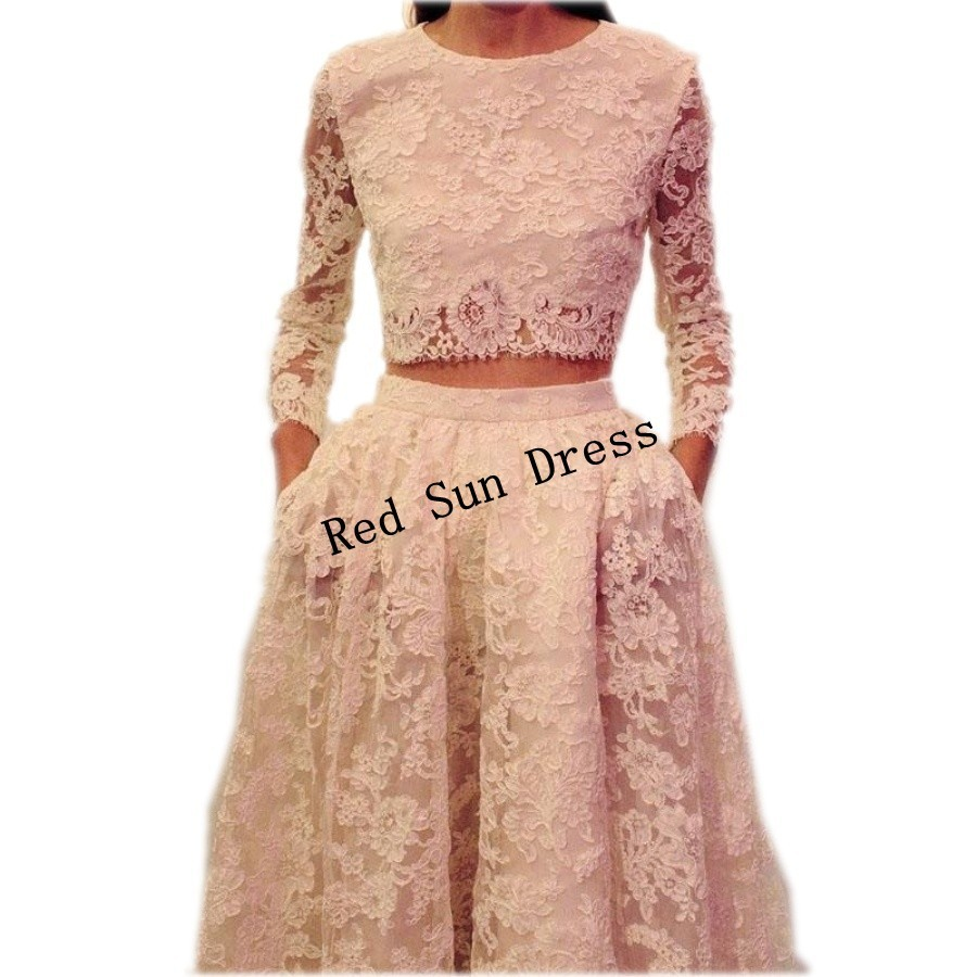 abendkleider lang o neck pink two piece lace prom dress with