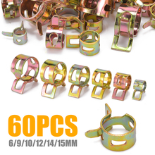 60pcs/set 6/9/10/12/14/15MM Spring Steel Hose Spring Clip Fuel Oil Water Hose Pipe Tube Clamp Hardware Fastener High Quality 60pcs spring clips 6 9 10 12 14 15mm for air hose tube water pipe fuel oil pipe silicone vacuum hose clamp fastener mayitr