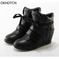 OKHOTCN Genuine Leather Wedge Shoes Hidden Heels Women S Shoes Black Casual Shoes For Women Hook