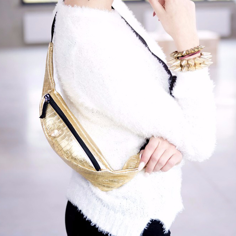 WCS-Fashion Belt Bag With Bottle Gold Alligator PU Waist Bag Fanny Pack For Women Pouch Leg Bags Bolso Para Cinturon