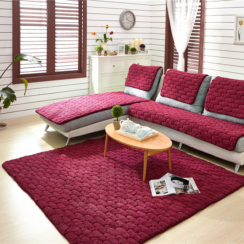 Charming Flannel Sofa Covers Towel For Single Double Sectional Sofa Wine Red Fleeced  Fabric Seat Slipcover Cushion