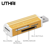 UTHAI C02 All in 1 Memory SD  TF Card Reader for Memory Stick Pro Duo Micro SD,TF,M2,MMC,SDHC MS Smart Multi Cardreader