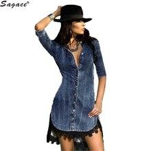 Women Half Sleeve Jeans Lace Patchwork Cowgirl Dress Casual Denim Turn-down Collar Mini Dress Saias Femininas blusas Aug5