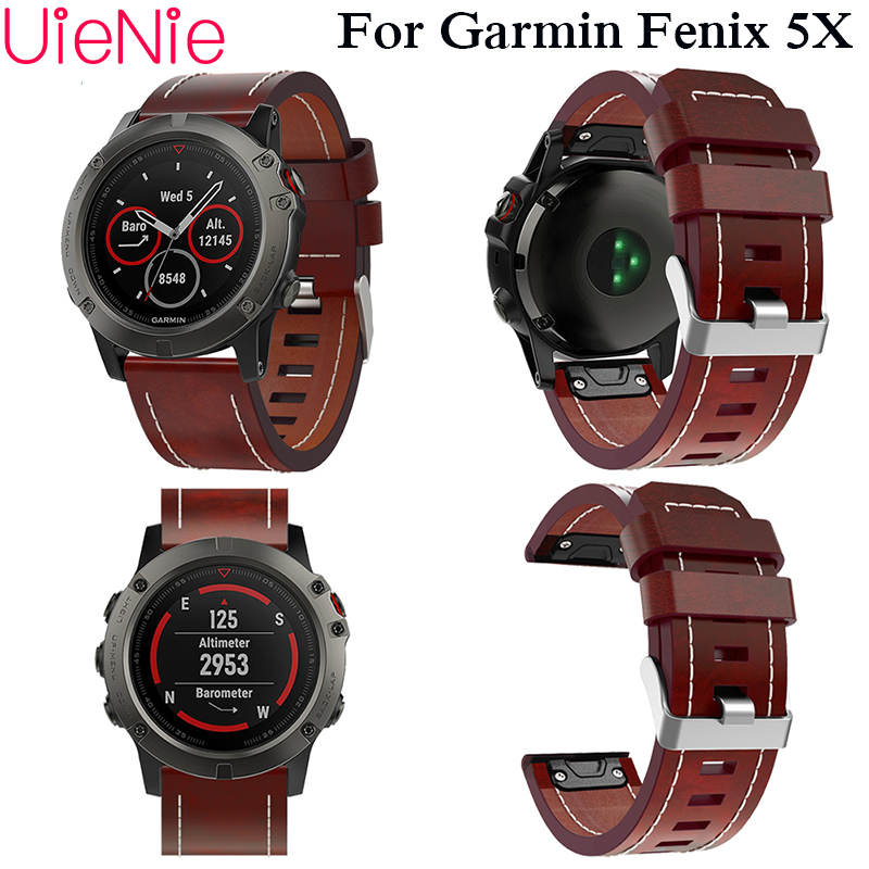 Leather Wrist Watch Strap Easy Fit Quick Link Bracelet Belt 26MM For Garmin Fenix 3/ Fenix 5X GPS Smart Watch Band Wristband