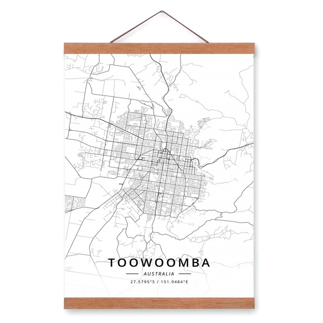 Toowoomba Australia City Map Wooden Framed Canvas Painting Home ...