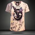 [Tamaño de asia, no tamaño de EE.UU./UE] de Alta calidad de algodón para hombre t-shirt águila impreso camiseta transpirable para hombre Chino palabras cortas manga