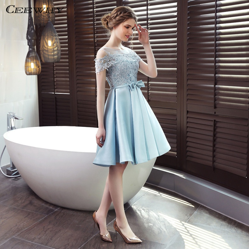 CEEWHY Light Blue A line Lace Satin Formal   Dress   Knee Length Wedding Party Gown Short   Cocktail     Dresses   Graduation   Dresses