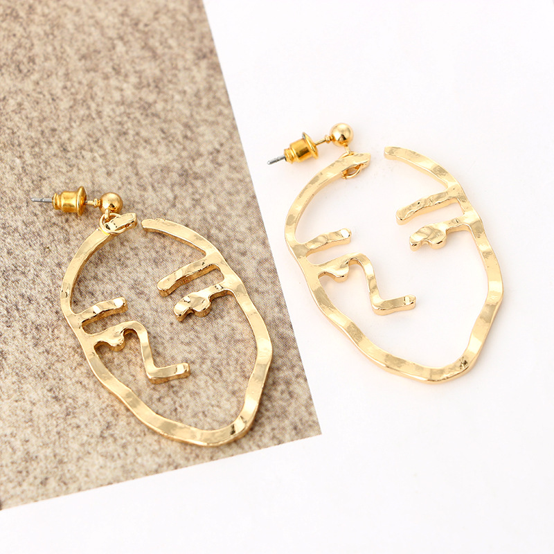 Fashion Jewelry Retro Quirky Fun Face Earrings Studs Gold Abstract ...
