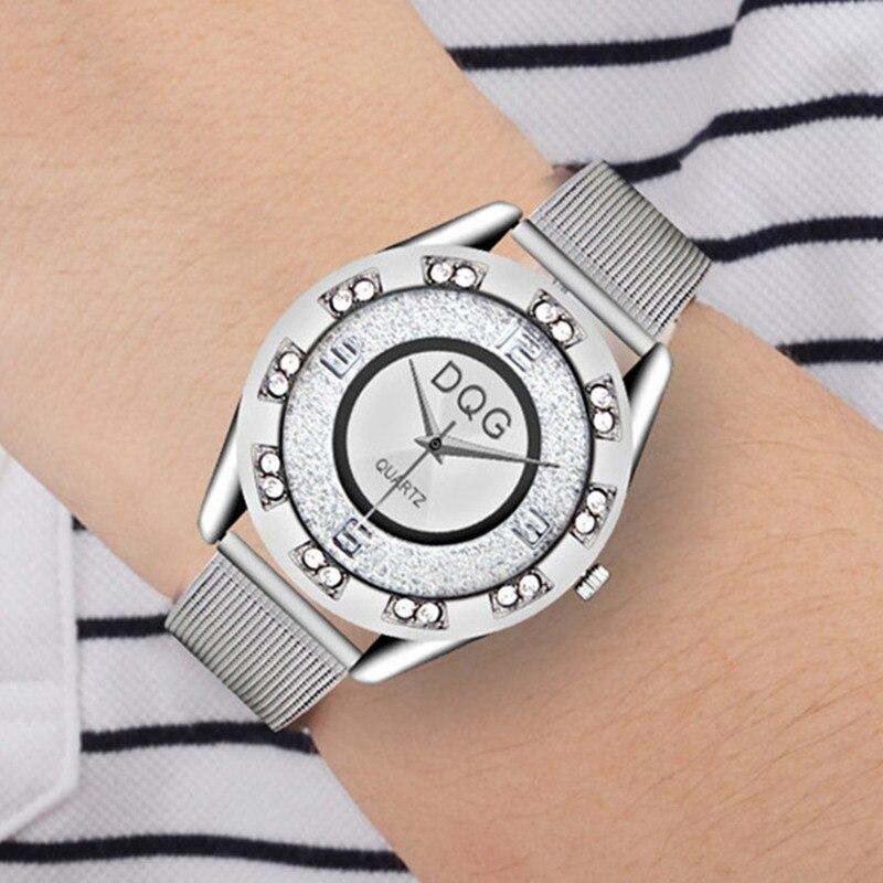 Reloj Mujer Ny Lyx Märke Mode Silver Mesh Bälte Klockor Klockor - Damklockor