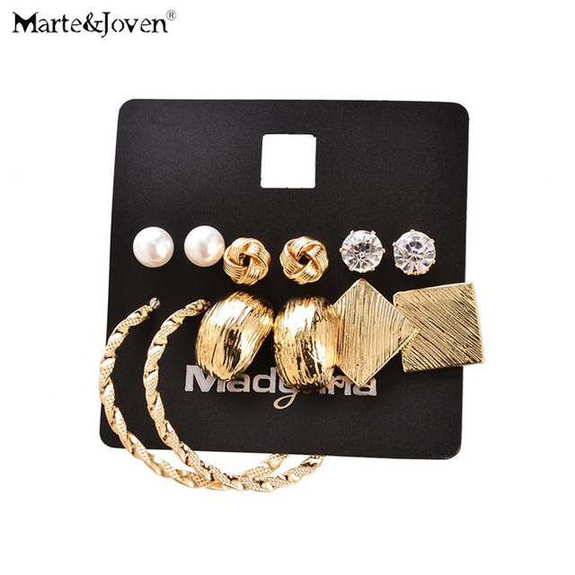 [Marte&Joven] New Fashion 6 pairs Earring Sets Gold Color Alloy Geometric Rhinestone Mixed Week Stud Earrings Set for women