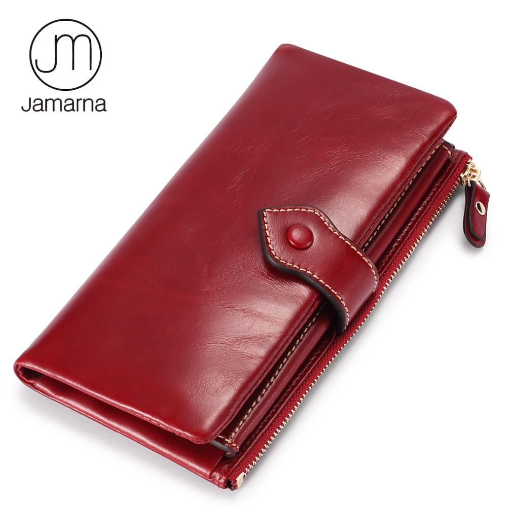 Jamarna Wallet for Women Genuine Leather Wallet Female Purse Long Clutch Oil Waxing Leather Coin Purses Holders Phone Pocket Red women wallet female 2017 coin purses holders 100% genuine leather money bags fashion sheepskin long clutch lace wallets