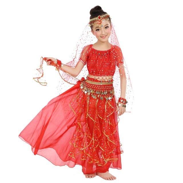 2020 חדש סגנון ילדים בטן ריקוד תלבושות מזרחי תלבושות ריקוד בטן ריקוד רקדנית בגדי הודי ריקוד תלבושות 5 Pcs עבור ילדים