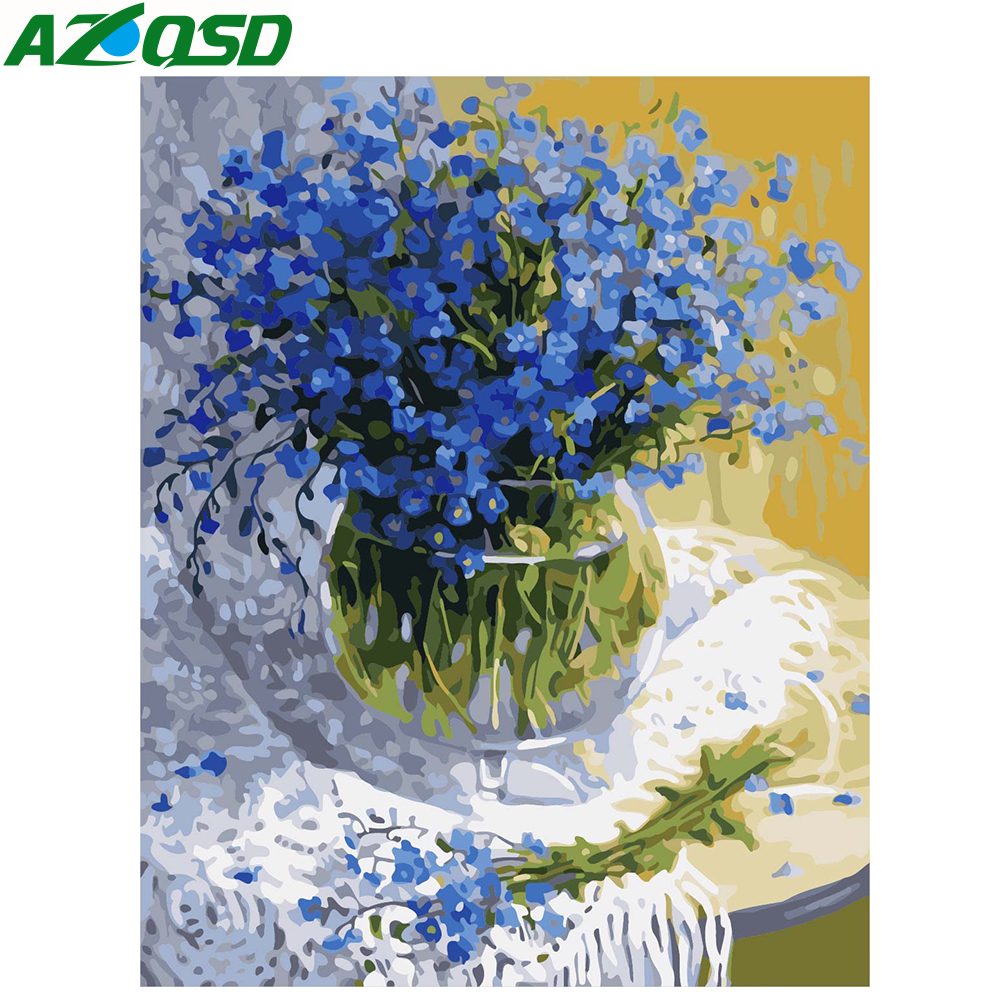 AZQSD Flower DIY Painting By Numbers Acrylic Paint By Numbers HandPainted Gypsophila Oil Painting On Canvas For Home Decor A516