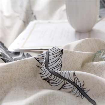Papa&Mima modern style bedlinens feather print bedding set Sheet Pillowcase Duvet Cover Sets Bedclothes set DropShipping