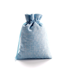 50pcs/lot 10*14cm Light Blue Jute Bags Small Drawstring Gift Bag Incense Storage Linen Bags Favor Charms Jewelry Packaging Bags(China)