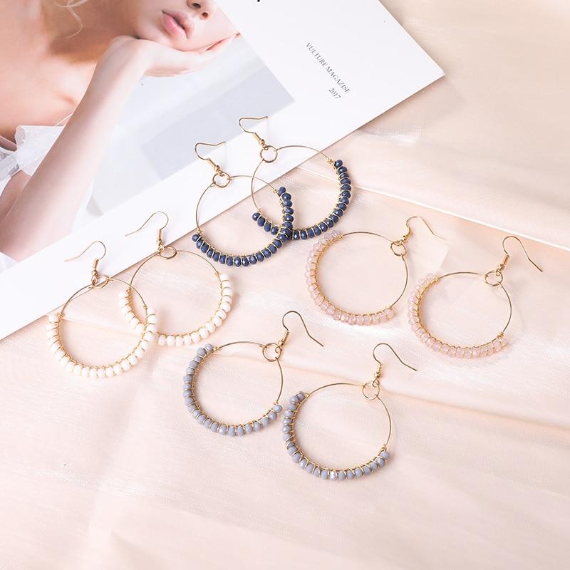 Большие серьги-кольца в стиле бохо ручной работы из бисера золотые крючки очаровательные ювелирные изделия для женщин золотые линии обмотк...
