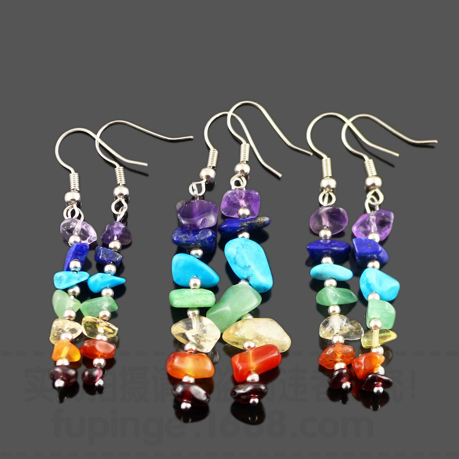 7 Chakra Long Fringed Statement Drop Earrings for Women Natural Stones Round Beads Reiki Healing Jewelry