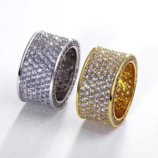 2017 Лучший Классический дизайн обручальное кольцо Ювелирные Изделия позолоченный Кубического Кристалла циркон Проложить кольца способа Высокого качества Ясно каменное кольцо