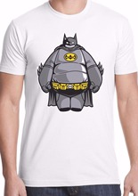 Printed Pure Cotton Men's T-shirt baymax batman marvel dc crossover comic geek Customize Tee Shirts Harajuku Funny Men T shirt
