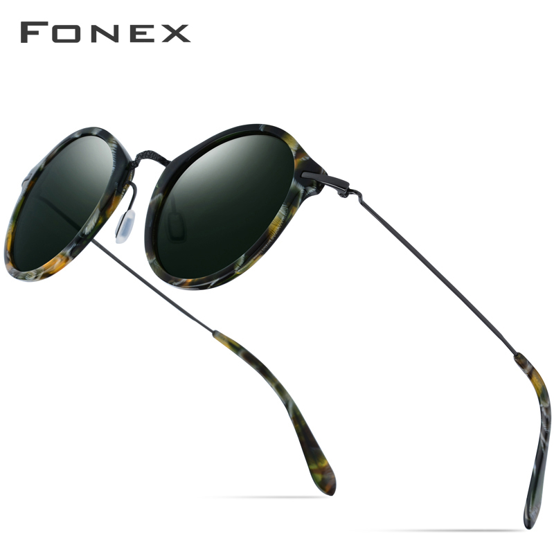 FONEX Elastic B Titanium Polarized Sunglasses Women Brand Designer 2019 Vintage Round Sun Glasses For Men Retro Acetate Sunglass