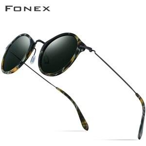 Image 1 - FONEX Elastische B Titan Polarisierte Sonnenbrille Frauen Marke Designer Vintage Runde Sonnenbrille für Männer Retro Acetat Sonnenbrille