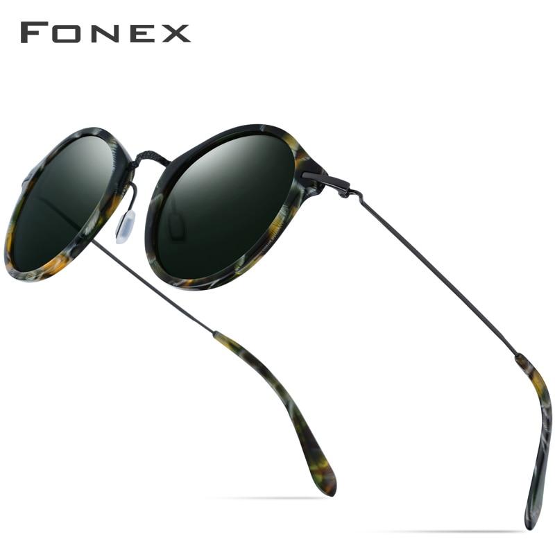 b644ad1e6e FONEX elástico B gafas de sol polarizadas de titanio diseñador de marca  2019 gafas de sol redondas Vintage para hombres gafas de sol de acetato  Retro